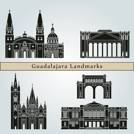 guadalajara: Guadalajara landmarks and monuments isolated on blue background in editable vector file Illustration