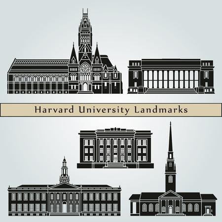 ハーバード大学のランドマークやモニュメントは、編集可能なベクトル ファイルに青色の背景に分離