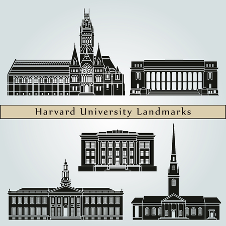 harvard university: Harvard University landmarks and monuments isolated on blue background in editable vector file Illustration
