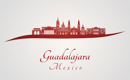 Guadalajara skyline in red and gray background in editable vector file