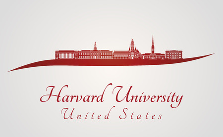 harvard: Harvard University skyline in red and gray background in editable vector file
