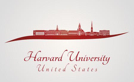 harvard university: Harvard University skyline in red and gray background in editable vector file