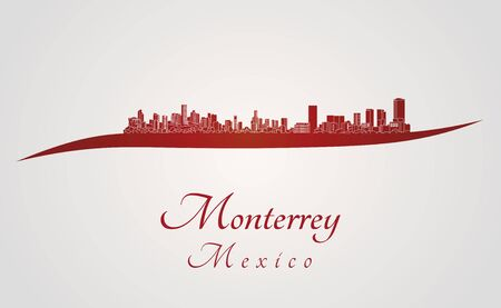 skyline city: Monterrey skyline in red and gray background in editable vector file Illustration