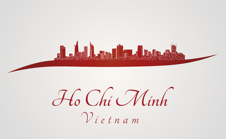 chi: Ho Chi Minh skyline in red and gray background in editable vector file
