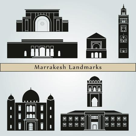 bezienswaardigheden en monumenten Marrakech geïsoleerd op een blauwe achtergrond in bewerkbare vector-bestand