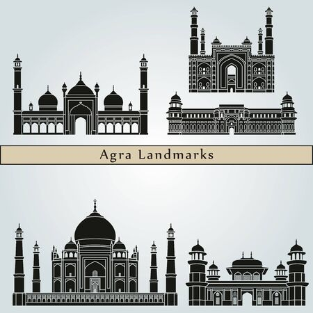 agra: Agra landmarks and monuments isolated on blue background in editable vector file