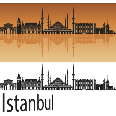 turkey istanbul: Istanbul skyline in orange background in editable vector file