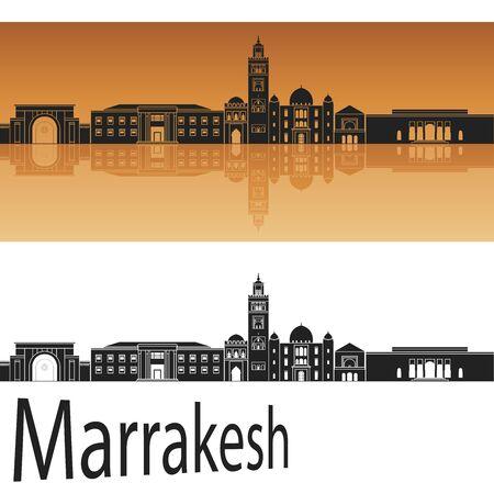 marrakesh: Marrakesh skyline in orange background in editable vector file Illustration