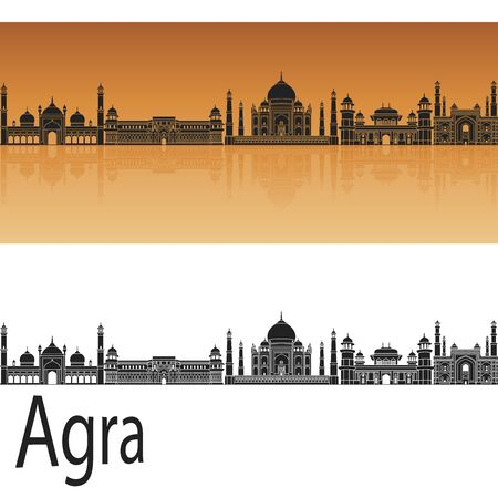 agra: Agra skyline in orange background in editable vector file