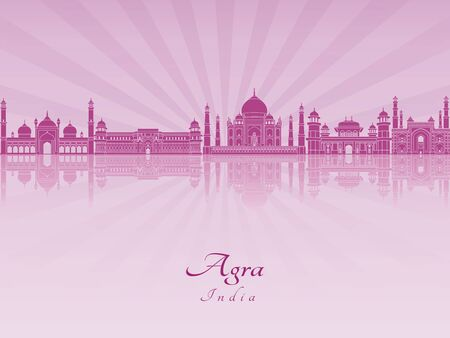agra: Agra skyline in purple radiant orchid in editable vector file