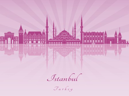 radiant: Istanbul skyline in purple radiant orchid in editable vector file Illustration