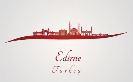 edirne: Edirne skyline in red and gray background in editable vector file