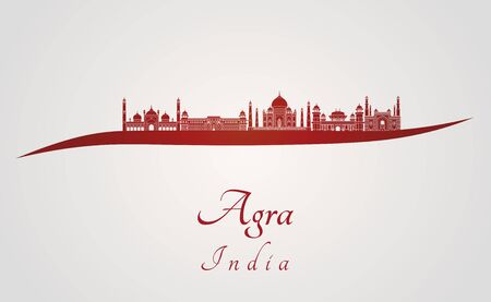 agra: Agra skyline in red and gray background in editable vector file