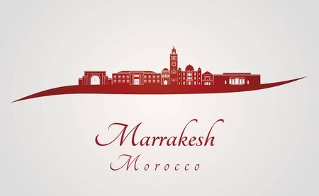 Marrakesh skyline in red and gray background in editable vector file