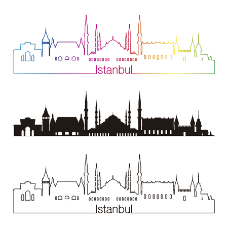 turkey istanbul: Istanbul skyline linear style with rainbow in editable vector file Illustration