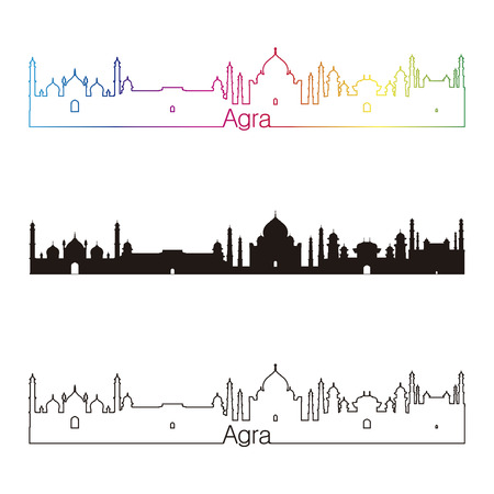 agra: Agra skyline linear style with rainbow in editable vector file