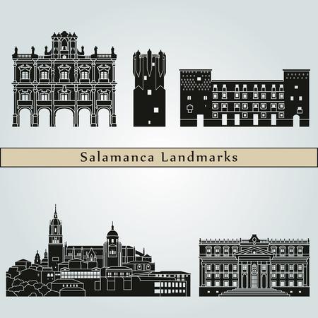 sites et monuments Casablanca isolé sur fond bleu dans le fichier éditable