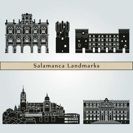 Casablanca landmarks and monuments isolated on blue background in editable file