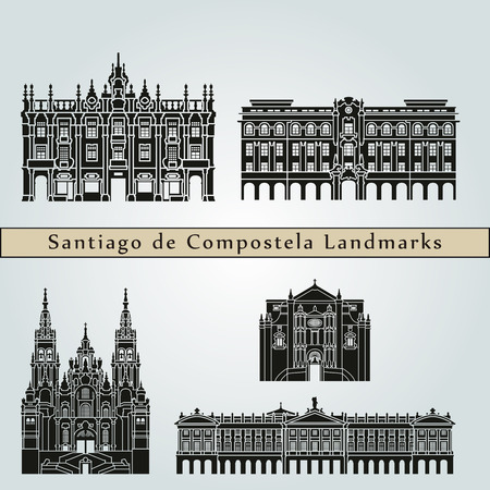 compostela: Santiago de Compostela  landmarks and monuments isolated on blue background in editable file