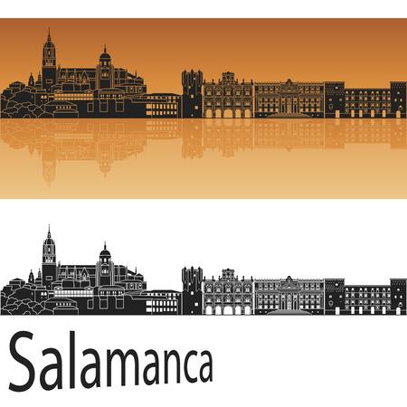 Salamanca skyline in orange background in editable  file