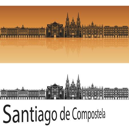 編集可能なファイルにオレンジ色の背景でサンティアゴ ・ デ ・ コンポステーラ スカイライン