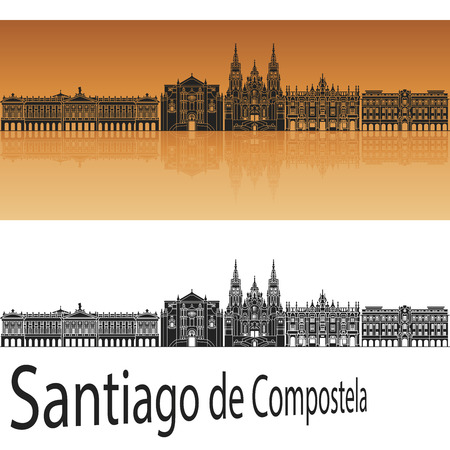 Santiago de Compostela skyline in orange background in editable file Illustration