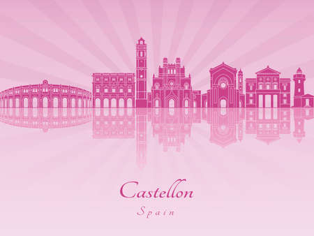 radiant: Castellon skyline in purple radiant orchid in editable file