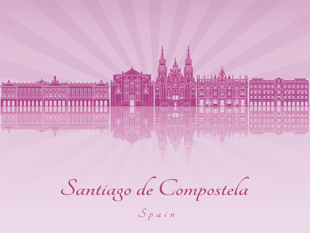 santiago: Santiago de Compostela skyline in purple radiant orchid in editable file