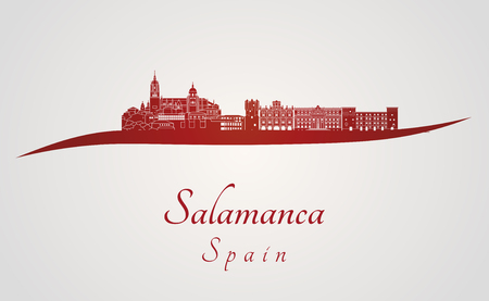 Salamanca skyline in red and gray background in editable file