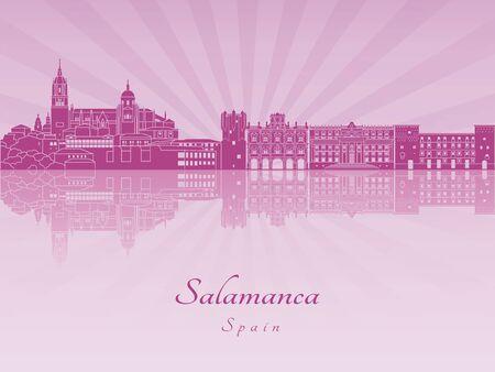 radiant: Salamanca skyline in purple radiant orchid in editable file Illustration