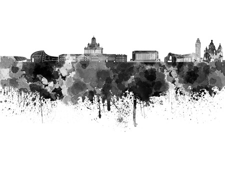Helsinki skyline in black watercolor on white background Stock Photo