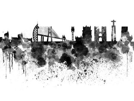 Lisbon skyline in black watercolor background