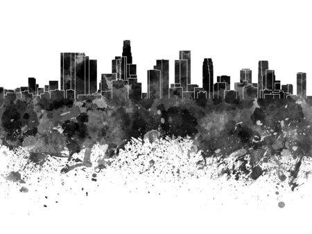 Los Angeles skyline in black watercolor on white background