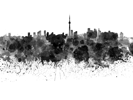 toronto: Toronto skyline in black watercolor on white background