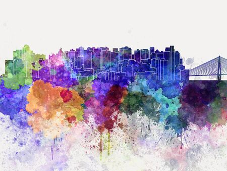 china watercolor paint: Shantou skyline in watercolor background