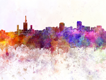lagos: Lagos skyline in watercolor background Stock Photo