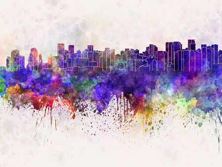 china watercolor paint: Chengdu skyline in watercolor background