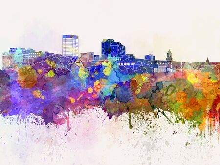 manchester: Manchester skyline in watercolor background
