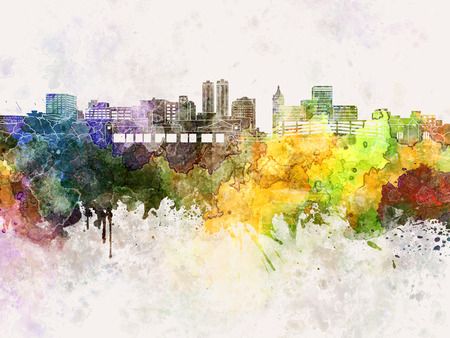 watercolour: Peoria skyline in watercolor background Stock Photo