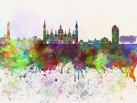 zaragoza: Zaragoza skyline in watercolor background