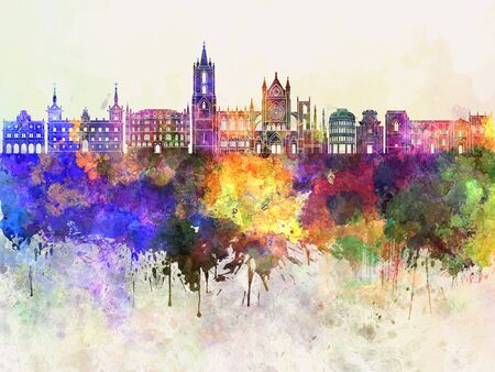leon: Leon skyline in watercolor background