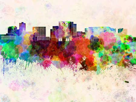 ma: Cambridge MA skyline in watercolor background