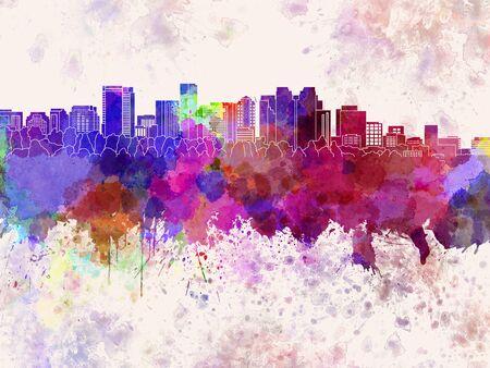 bellevue: Bellevue skyline in watercolor background Stock Photo