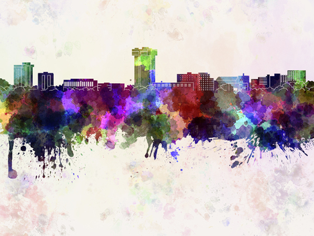 mo: Springfield MO skyline in watercolor background Stock Photo