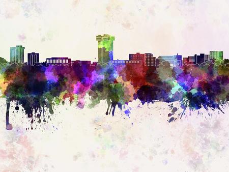 Springfield MO skyline in watercolor background Banco de Imagens - 51367565