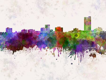 Amarillo skyline in watercolor background Stock Photo