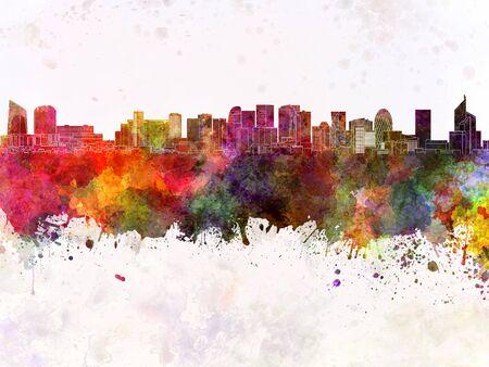 paris skyline: Paris skyline in watercolor background