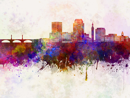 ma: Springfield MA skyline in watercolor background