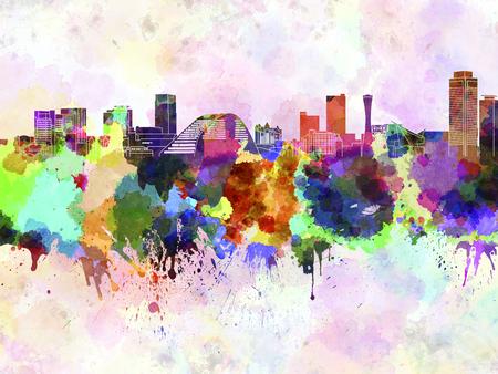 kobe: Kobe skyline in watercolor background