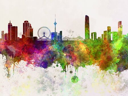 china watercolor paint: Tiajin skyline in watercolor background Stock Photo
